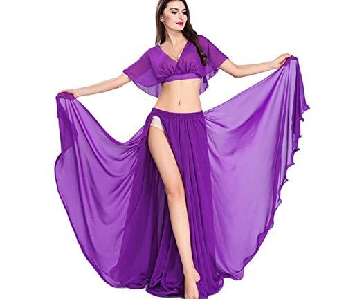 Ndische Bollywood Lady Bauchtanz Kleidung Bauchtanz Kostüm für Frauen Oriental Dress Slit Dress Performance Anzug One Size,4
