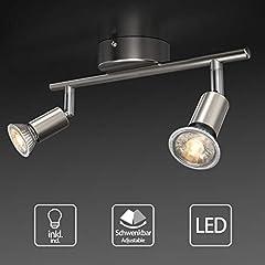 Idea Regalo - Faretti LED da soffitto orientabili, Plafoniera LED, luce bianca calda,lampadario moderno in metallo cromato per cucina o camera da letto, include 2 lampadine LED GU10 da 5 W, 400Lm,230V