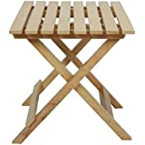 Folding Light Weight Square Design with Stripe Pattern Medium Size Coffee Table in Natural Wood Finish by SKA