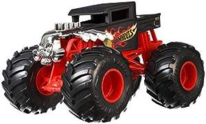 Mattel Hot Wheels-Monster Trucks Vehículo Bone Shaker 1:24, Coches de Juguetes niños +3 años, Multicolor GCX15
