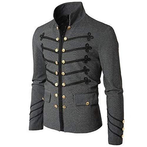 LanLan Jacket de Hombres Chaqueta Militar Vintage con Botones Bordados Color sólido Top Retro Cardigan Uniforme