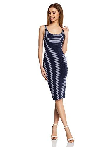 oodji Ultra Damen Jersey-Kleid mit Dünnen Trägern Blau (7912S)
