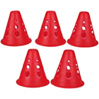 Sharplace 5 Pcs de Conos de Slalom para Patinaje Brillante Skating Pila Obstáculo - Rojo