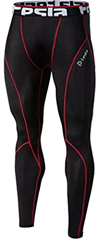 Tesla Men's Cool Dry Compression Baselayer Pants Leggings Capri Shorts Tights P16 (TMP16BKRZ, XL)