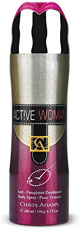 Chris Adams Perfumes Active Woman Pour Femme Body Spray For Women, 200 ml