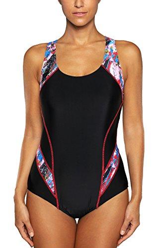 Charmo Sports Einteilige Bedemode für Damen Racing Badeanzug X-Rücken Training Schwimmanzug Strandbekleidung XL