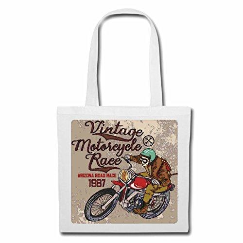 Tasche Umhängetasche Vintage Arizona Road Race Motorcycle BIKERSHIRT Motorrad Chopper Gothic Motorcycle Skull Motorradclub Bike Route 66 Einkaufstasche Schulbeutel Turnbeutel in Weiß