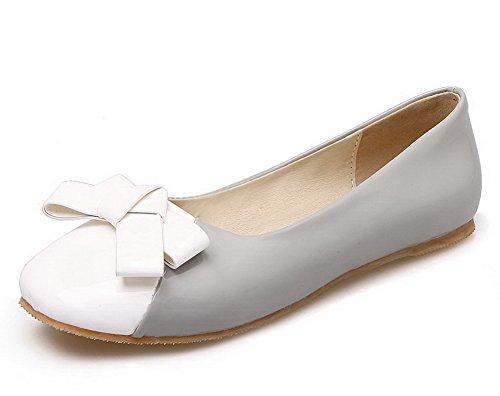 Voguezone009 Femme Assorties Couleur Porc En Cuir Sans Talon Quedrata Toe Pull Ballerina Chaussures Gris