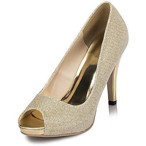GGX/ zapatos de mujer de satén tacones tacón de aguja zapatos de tacón de la boda / fiesta&noche / vestido de marfil / blanco , 4in-4 3/4in-golden