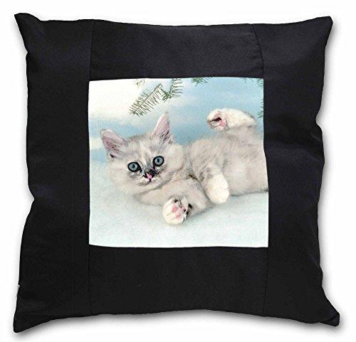 Advanta Kätzchen, Tiffany Katze schwarz Bordüre Satin Feel Kissenhülle mit Kissen einfügen, Polyester, mehrfarbig, 36x 36x 12cm