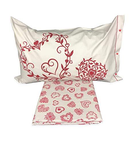 Copripiumino tirolese dis. miros cuore rosso da montagna con federa arredo mrsrss - matrimoniale 2 piazze cm. 250x200