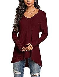 YOINS Pullover Damen Elegante Oberteile Damen Sexy Langarmshirt Blusen Top V-Ausschnitt T-Shirts
