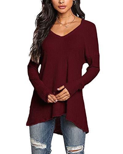 YOINS Pullover Damen Elegante Oberteile Damen Sexy Langarmshirt Blusen Top V-Ausschnitt T-Shirts Weinrot XS/EU32-34
