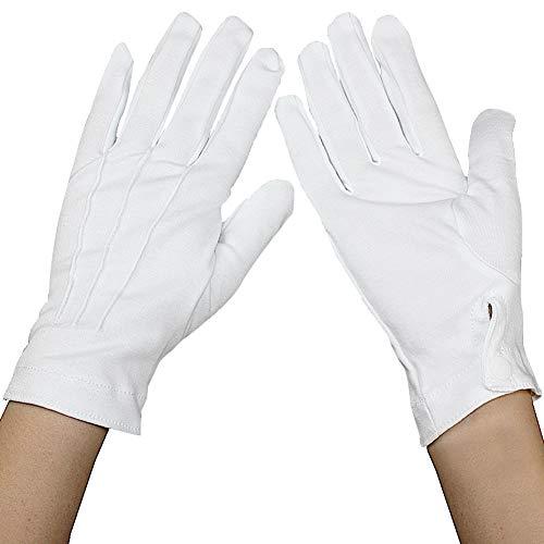 6 Paar weiße Handschuhe für Kinder Hand Feuchtigkeitsspendende Handschuhe Nylon Baumwolle Handschuhe für Polizei formelle Smoking Honor Guard und besondere Anlässe (Security Guard Kostüm Kind)
