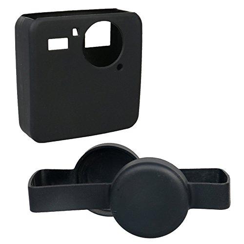 Kingwon Étui de protection en silicone avec capuchon d'objectif d'appareil photo pour appareil photo GoPro Fusion 360, noir, 2 pièces