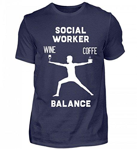 Sozialarbeiter T-Shirt Kaffe Wein Balance Lustig soziale Arbeit Tshirt Geschenk