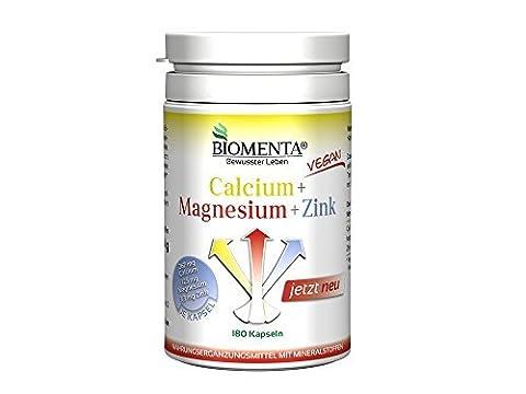 Biomenta CALCIUM + MAGNÉSIUM + ZINC 180 VÉGÉTALIEN Complexe de