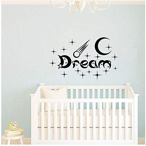 Pegatinas de pared de la habitación de los niños de la estrella y la luna tatuajes de pared de vinilo pegamento diy pegatinas de pared jardín de infantes 59x96 cm