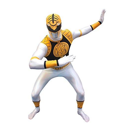 Power Kinder Grüne Ranger Kostüm - Offiziell Weiß Power Ranger Morphsuit Verkleidung, Kostüm - Medium - 5'-5'4 (150cm-162cm)