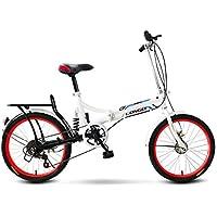 LETFF Bicicleta Plegable para Adultos de 20 Pulgadas, Bicicleta de montaña con Amortiguador de Velocidad