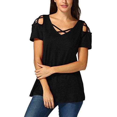 tefamore Femmes d'été à Manches Courtes Strappy épaule Froide T-Shirt Hauts Blouses (M, Z-Noir)