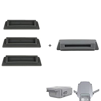 Hensych® 4 in 1 Slicone Anti-Dust Protector Cover for DJI Mavic Pro /3 PCS Battery Charging Port Terminal Cover Cap Dustproof + 1PCS Slicone Anti-Dust Protector Cover for Body