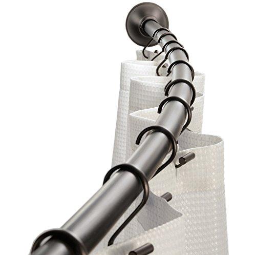 Interdesign 79070EU Gebogene verstellbare Duschvorhangstange, 104-183 cm, bronze