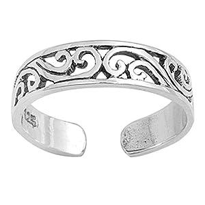 7K Zehenring aus 925 Sterling Silber als Fußschmuck für Damen, Herren und Mädchen, Größenverstellbar, Modell 17