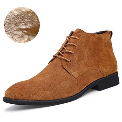 Hombres Botines de Cuero Transpirable Hombres Botas de Cuero al Aire Libre Casual Alta Top Zapatos Hombres Zapatos de Invierno