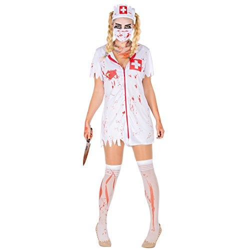 Sexy Zombie Krankenschwester Stretch Kleid Damen Kostüm inkl. Kniestrümpfe, Mundschutz & Haarreifen (S | Nr. (Patient Kostüm Krankenschwester)