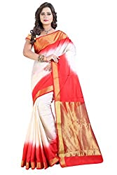 Vatsla Women's Banarasi Cotton Silk Saree With Heavy Borderwork and Blouse Piece(VBOPS8_WHITE_RED_COLOR)