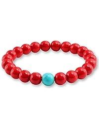3df7c13b5d51 LANSS Nueva Red Natural Turquoises Piedra Charm 8 MM Hombres Pulsera de  Hilo Femme Granos Redondos Pulseras de Buda para Las…