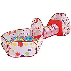 Zyurong 3en 1pliable enfants Tente de jeu avec tunnel, boules et panier de basket-ball, balles non inclus