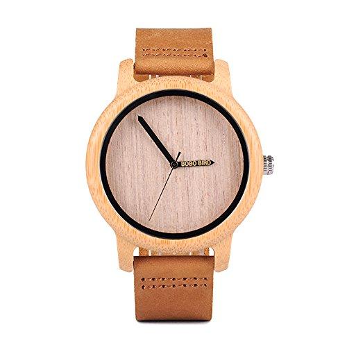 Groove-holz (Kim Johanson Herren Bambus-Holz Armbanduhr *Groove* in Braun mit Echtem Lederarmband Handgefertigt Quarz Analog Uhr inkl. Geschenkbox)