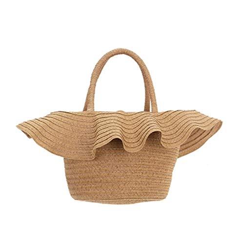 HTSHOP Frauen Stroh Tote, Kleine Tasche Sommer, Gewebte Picknickkorb, Sommer Strandtasche (Sommer Tote Taschen)