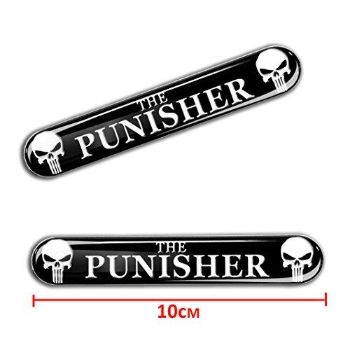 Skino 2 x Punisher Aufkleber 3D Gel Silikon Autoaufkleber Totenkopf Totenschädel Skull Auto Moto Emblem Logo Tuning Zubehör Motorrad KS 109