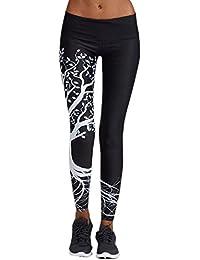 Leggings damen Kolylong® Frauen Elegant Hohe Taille Yoga Hosen Muster  Freizeit Stretchy Fitness Leggings Training Sport Hosen… 48e9b1789c