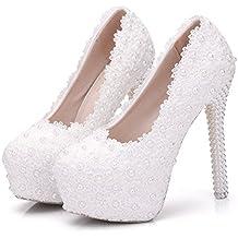 Zapatos de Mujer PU Primavera Otoño Confort Zapatos de Novia Tacón de Aguja Punta Redonda Perla Satén Flor para Boda/Noche Blanco