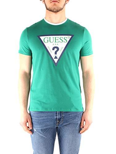 Guess T-Shirt mit kontrastfarbenem Logo - L, GRüN