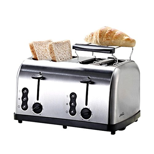 Lh$yu 4 Slice Retro Toaster • 4 Slots • Toast Rack • 1500 W • Defrost Function • Thawning and Reheating Function • Stainless • Removable Crumb Container •Silver high quality