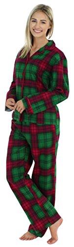 PajamaMania Flanell Pyjama für Damen, Schlafanzug, Grün Plaid (PMF1002-2036-UK-MED) (Damen-flanell)