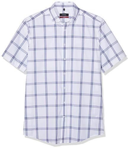 Seidensticker modern kurzarm mit button-down kragen bügelfrei kariert camicia formale uomo, blu (blau 17) 47