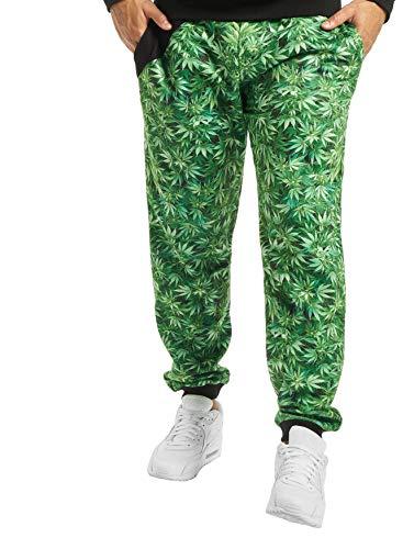 EGOMAXX DNGRS Herren Jogging Hose Baggy Sweat Pants Greenline Hanf Weed Gras, Farben:Schwarz, Größe Hosen:L