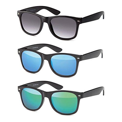 MOKIES MOKIES Unisex Sonnenbrillen - UV400 Filterkategorie 3 CE Kennzeichnung - Wayfarer Design - Polycarbonat - mit Federscharnier - A-SET Grau verlaufend, Blau, Grün