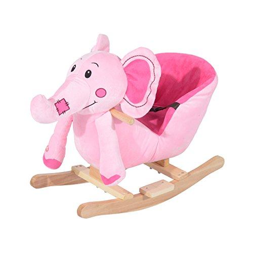 HOMCOM Children Kids Rocking Horse Toys Plush Elephant Rocker Seat with Sound Toddler Baby Gift (Pink)