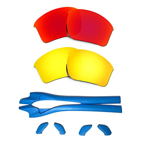 a498f48279b95 HKUCO Red 24K Gold Polarized Replacement Lenses plus Blue Earsocks Rubber  Kit For Oakley Half Jacket 2.0 XL - Buy Online in Oman.