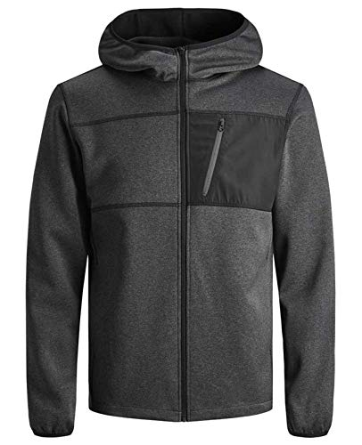 JACK & JONES Herren Fleece Jacket Kapuzenpullover Hoodie Sweatjacke Sona Core Sweatshirt Sweat Hood S M L XL XXL (XXL, Schwarz)