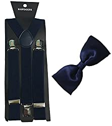 Atyourdoor Navy Blue Suspender and Blue Satin Bow Tie for Men(Combo Pack)