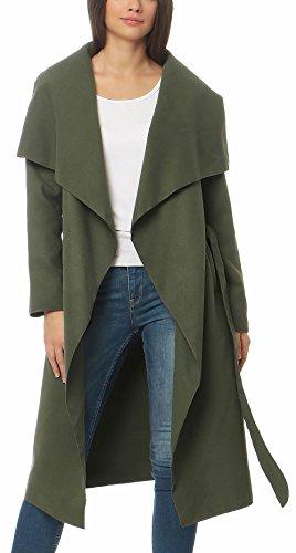 malito Damen Mantel lang mit Wasserfall-Schnitt | Trenchcoat mit Gürtel | weicher Dufflecoat | Parka - Jacke 3040 (oliv)