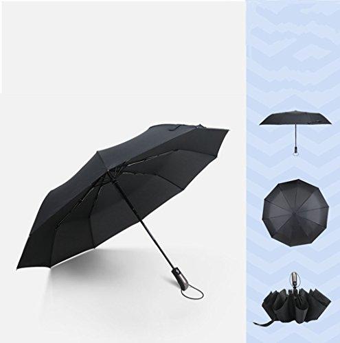 GONGFF Umbrella \u0026 Folding Vollautomatische Business-Regen- und Regenjacke für Damen und Herren mit doppeltem Verwendungszweck, dreifach faltbar und Winddicht, aus schwarzem Kunststoff (Farbe:
